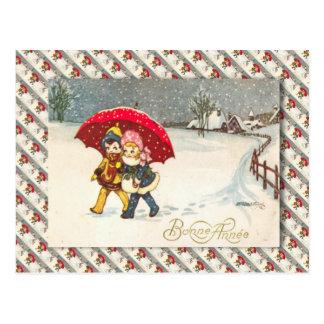 Vintage Francia niños debajo del paraguas nevand Tarjetas Postales