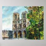 Vintage Francia, París, Notre Dame Póster
