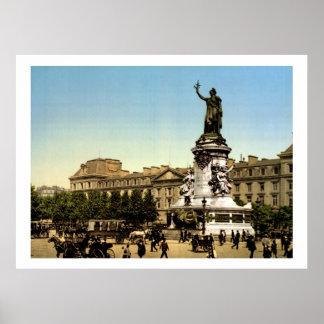 Vintage Francia, Place de la République París Póster