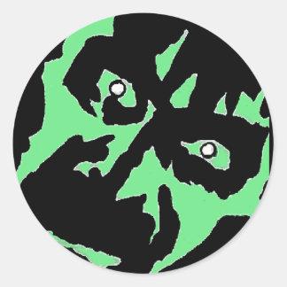 Vintage Frankenstein Monster Green Black Retro Classic Round Sticker