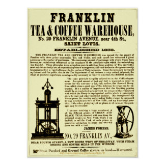"""Vintage Franklin Tea & Coffee Broadside 1853"" Poster"