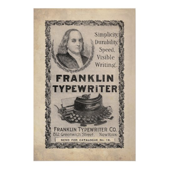 Vintage Franklin Typewriter Ad from 1899 Poster