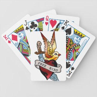 vintage free bird tattoo bicycle playing cards