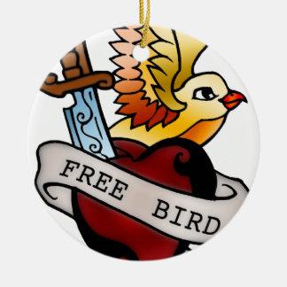 vintage free bird tattoo ceramic ornament