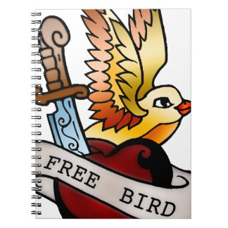 vintage free bird tattoo spiral notebook