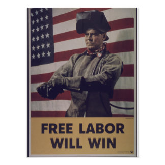 "Vintage ""Free Labor will Defeat Axis"" propaganda Poster"