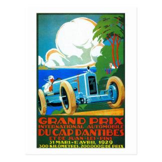 Vintage French 1920s Racing cars Grand Prix Postcard