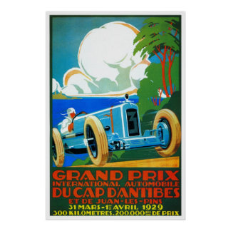 Vintage French 1920s Racing cars Grand Prix Poster