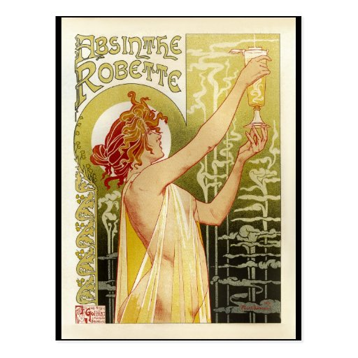 Vintage French Absinthe Advertisement Post Card