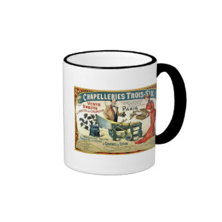 Vintage French Ad - Chapelleries1890 Ringer Coffee Mug
