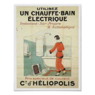 vintage french advertisement bathroom bathtub poster