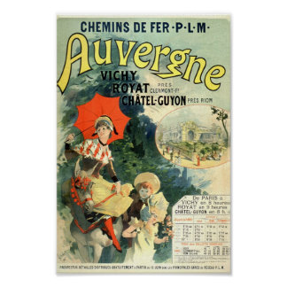 Vintage French Advertising Auvergne Vichy Royat Poster