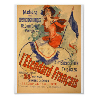 Vintage French Advertising Bicyclettes 1891 Poster