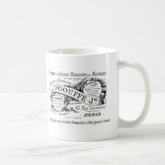 vintage french advertising typography classic white coffee mug