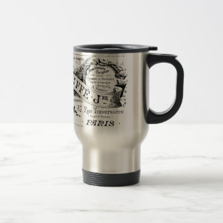vintage french advertising typography stainless steel travel mug