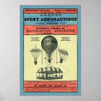 Vintage French Aeronautic Exhibition 1885 Print