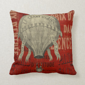 Vintage French Air Balloon Throw Pillow