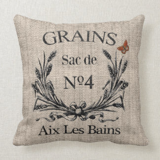 Vintage French Aix Les Bains Grainsack-Effect Throw Pillow