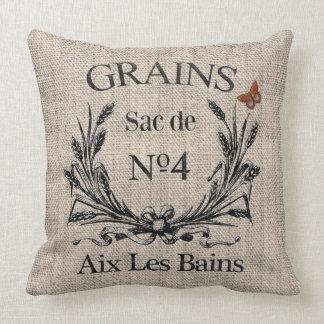 Vintage French Aix Les Bains Grainsack-Effect Throw Pillow