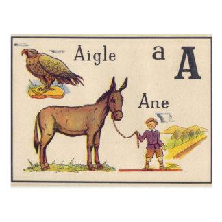 Vintage French Alphabet postcard