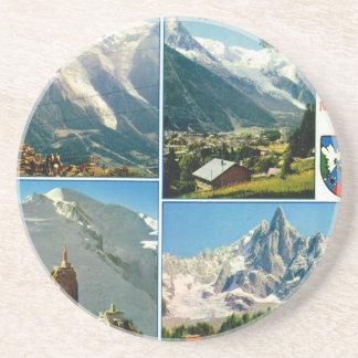 Vintage French Alps Chamonix Mt Blanc Coaster