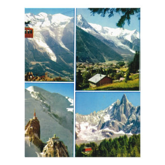 Vintage French Alps Chamonix Mt Blanc Custom Letterhead