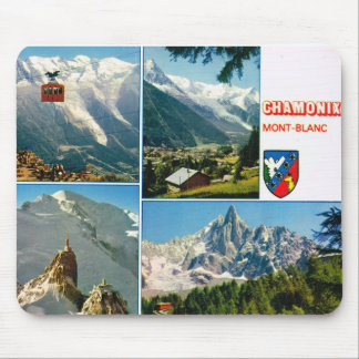 Vintage French Alps, Chamonix Mt Blanc Mouse Pad