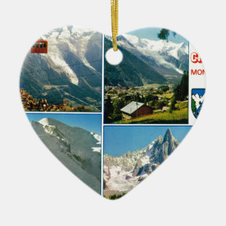Vintage French Alps, Chamonix Mt Blanc Double-Sided Heart Ceramic Christmas Ornament