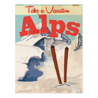 Vintage French Alps Travel Poster Postcard