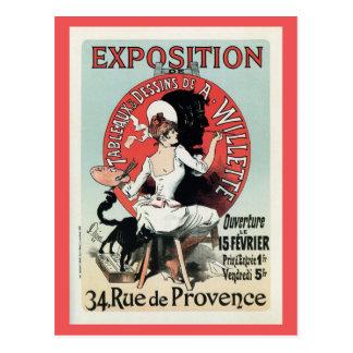Vintage French art nouveau exposition ad Postcard