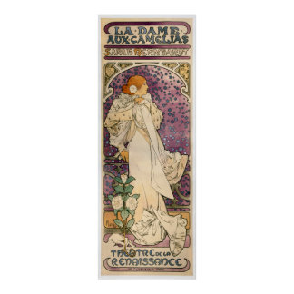 Vintage French Art Nouveau Lady of the Camelias Poster