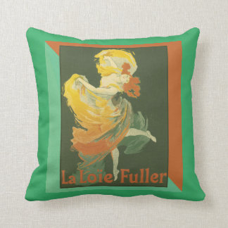 "Vintage French Art Poster ""La Loie Fuller"" Throw Pillow"