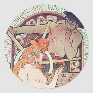 Vintage French Art Round Sticker