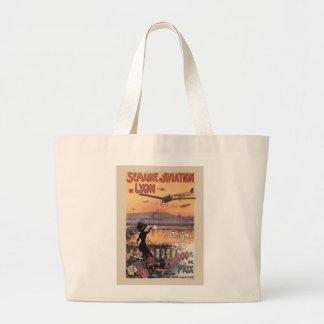 Vintage French Aviation Large Tote Bag