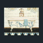 """Vintage French Bathtub Canvas Print<br><div class=""""desc"""">&#169; Lisa Audit / Wild Apple.  This image of a French blue and white bathtub features a towel on the side,  as well as some French text on the image.</div>"""