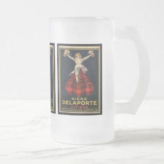Vintage French Beer Advertising Poster Design Frosted Glass Beer Mug