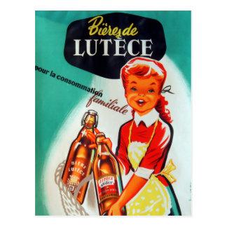 Vintage French Beer Advertisment Postcard