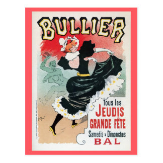 Vintage French belle époque dance hall dancing ad Postcard