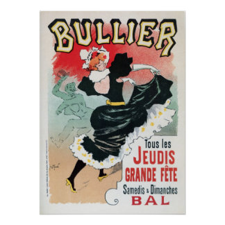 Vintage French belle époque dance hall dancing ad Poster