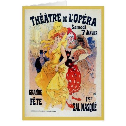 Vintage French belle époque masquerade ball ad Cards