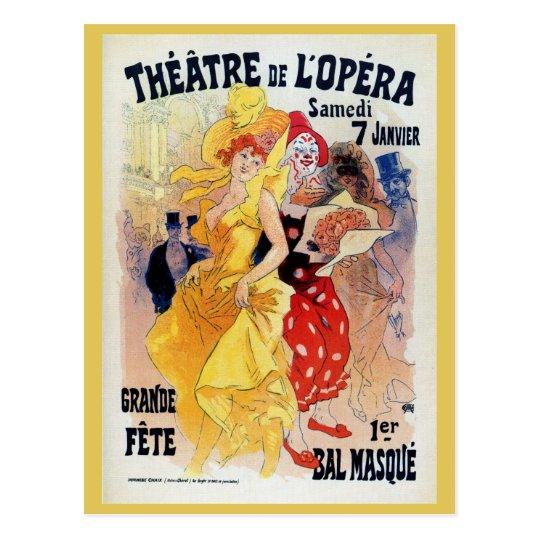 Vintage French belle époque masquerade ball ad Postcard