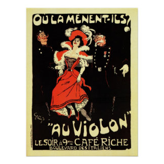 Vintage French belle époque nightclub ad Print