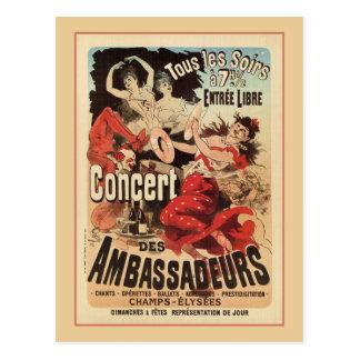 Vintage French belle époque Paris nightlife ad Postcard