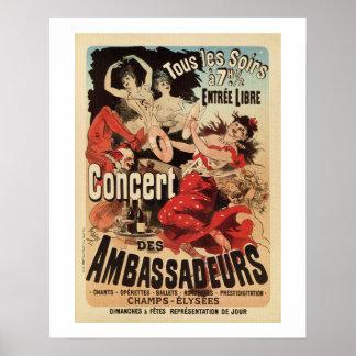 Vintage French belle époque Paris nightlife ad Poster