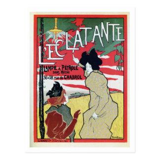 Vintage French belle époque petrol lamp ad Postcard