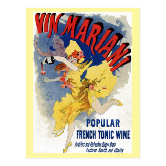 Vintage French bellé époque wine aperitif ad Postcard