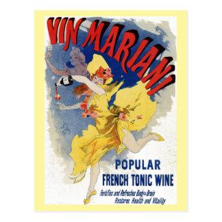 Vintage French bellé époque wine aperitif ad Postcard