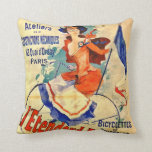 Vintage French Bicycle Ad 1891 Throw Pillow
