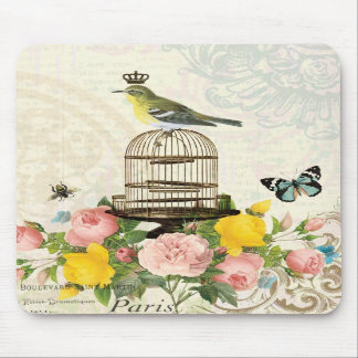 Vintage French bird and birdcage mousepad