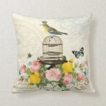 Vintage French bird and birdcage pillow